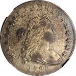 1798 Draped Bust Silver Dollar. Heraldic Eagle. BB-105, B-23. Rarity-3. Pointed 9, Wide Date. EF Det