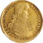 MEXICO. 4 Escudos, 1810-Mo HJ. Mexico City Mint. Ferdinand VII. NGC AU-53.