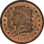 1833 Classic Head Half Cent. Cohen-1, Breen-1. Rarity-5 as a Proof. Proof-66 RB (PCGS).