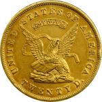 1853 United States Assay Office of Gold $20. K-18. Rarity-2. 900 THOUS. MS-61 (NGC).