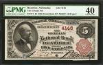 Beatrice, Nebraska. $5 1882 Brown Back. Fr. 471. The German NB. Charter #4148. PMG Extremely Fine 40
