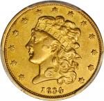 1834 Classic Head Half Eagle. McCloskey-2. Second Head, Small Plain 4. AU Details--Cleaned (PCGS).