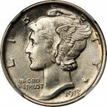 1918-D Mercury Dime. MS-65 FB (NGC).