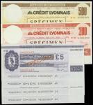 英国与法国一组旅游支票样票6枚,均UNC