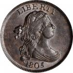 1805 Draped Bust Half Cent. C-1. Rarity-2. Medium 5, Stemless Wreath. MS-63 BN (PCGS). CAC.