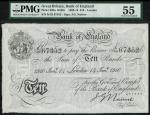 Bank of England, J.G. Nairne, £10, London 14 January 1910, serial number K52 67352, black and white,