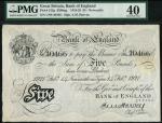 Bank of England, E.M. Harvey, £5, Newcastle-on-Tyne 14 February 1921, serial number U88 30466, black