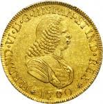 COLOMBIA. 1760-J 4 Escudos. Popayán mint. Ferdinand VI (1746-1759). Restrepo M22.2. AU Detail — Graf