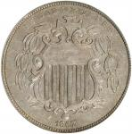 1867/1-67 Shield Nickel. Rays. FS-303. Repunched Date. AU-55 (NGC).