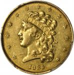 1834 Classic Head Half Eagle. McCloskey-2. Second Head, Small Plain 4. AU-55 (PCGS).