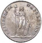 Italian coins;NAPOLI Repubblica napoletana (1799) Piastra A. VII - Magliocca 373 AG (g 27.57) Esempl
