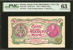 1923年丹泽政府100万马克。 DANZIG. Senate of the Municipality. 1 Million Mark, 1923. P-24a. PMG Choice Uncircu