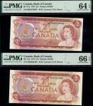 x Bank of Canada, $2 (3), 1974, 1986, $5, 2004-05, (Charlton BC-47a, 55b, 62b), in PMG holders 64 EP