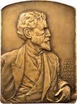 Undated Uniface Portrait Plaque of Augustus Saint-Gaudens. Bronze. 65 x 89 mm - rectangular with cur