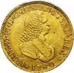 COLOMBIA. 1760-J 4 Escudos. Popayán mint. Ferdinand VI (1746-1759). Restrepo M22.2. EF-45 (PCGS).