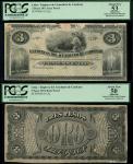 La Empresa del Acueducto de Cardenas, Cuba, obverse and reverse proof for a 3 Pesos, 187-, black on