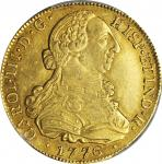 COLOMBIA. 8 Escudos, 1776-P SF. Popayan Mint. Charles III (1759-88). PCGS AU-55 Gold Shield.