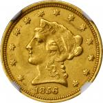 1856-C Liberty Head Quarter Eagle. MS-62 (NGC).