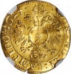 GERMANY. Kempten. Gold 2 Kreuzer of 1/2 Ducat Weight, 1624. NGC AU-58.