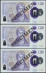 Bank of England, Sarah John, polymer £20, ND (20 February 2020), serial number AA01 000063/64/65, pu