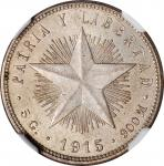 CUBA. 20 Centavos, 1915. Philadelphia Mint. NGC MS-64.