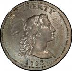 1793 Liberty Cap Cent. Sheldon-13. Liberty Cap. Rarity-4-. About Uncirculated-58 (PCGS).