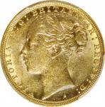 澳洲1886-S年1Sovereign金币。 悉尼造币厂。 维多利亚。 AUSTRALIA. Sovereign, 1886-S. Sydney Mint. Victoria. PCGS MS-61.