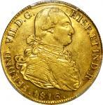 COLOMBIA. 1816-JF-P 8 Escudos. Popayán mint. Ferdinand VII (1808-1833). Restrepo M128.22. AU-53 (PCG