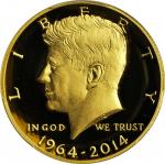2014-W 50th Anniversary Kennedy Half Dollar. Gold. Proof-70 Deep Cameo (PCGS).