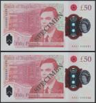 Bank of England, £50, 23 June 2021, serial number AA01 000031/32, red, Queen Elizabeth II at right a