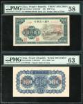 1951年一版人民币5000元「蒙古包」正反面样票,均PMG58, 63,少见!