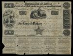 Texas. Republic of Texas Certificate of Stock in the Ten Per Cent Conslidated Fund. Act of February