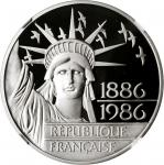 FRANCE. Platinum 100 Francs, 1986. NGC PROOF-69 ULTRA CAMEO.