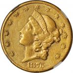 1876-CC Liberty Head Double Eagle. AU-50 (NGC).