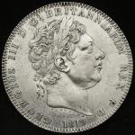 GREAT BRITAIN George III ジョージ3世(1760~1820) Crown 1819LIX   洗浄 VF~EF