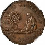 NEW ZEALAND. Christchurch. Edward Reece. 1/2 Penny Token, ND. NGC MS-63 BN.