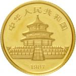 10 Yuan 1 / 10 oz GOLD 1987 Y (Shenyang). Panda at body of water.Welds. Uncirculated, mint condition