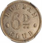 SOUTH AFRICA. Copper-Nickel Durban Club 6 Pence Token, 1860. NGC MS-62.