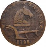 1788 New Jersey Copper. Maris 77-dd, W-5535, Die State 1. Rarity-3. Horses Head Right, Running Fox B
