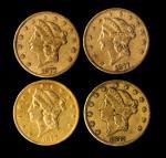 Lot of (4) 1877-CC Liberty Head Double Eagles. EF-AU (Uncertified).