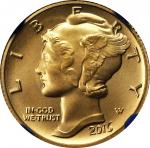 2016-W 100th Anniversary Mercury Dime. Gold. First Releases. Chief Engraver John M. Mercanti Signatu