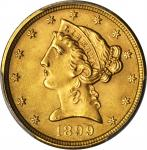 1899 Liberty Head Half Eagle. MS-66 (PCGS).