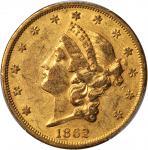 1862 Liberty Head Double Eagle. AU-50 (PCGS). CAC.