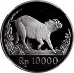 1987年印度尼西亚10000盾精制银币。INDONESIA. 10000 Rupiah, 1987. NGC PROOF-69 Ultra Cameo.