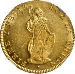 PERU. 8 Escudos, 1835-CUZCO B. Cuzco Mint. NGC MS-62+.