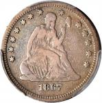 1867 Liberty Seated Quarter. Briggs 1-A. Fine-12 (PCGS).