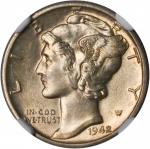 1942/1-D Mercury Dime. FS-101. MS-63 FB (NGC).