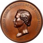 1853 Franklin Pierce Indian Peace Medal. Copper, Bronzed. First Size. Julian IP-32, var. Prucha-Unli