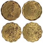 香港1979年及1975年2毫错体2枚,分别为外边打压错误以及错打1毫面值,均AU品相。Hong Kong, a pair of 20 cents, 1979 and 1975, MINT ERROR