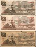 COSTA RICA. Lot of (3) Banco Central de Costa Rica. 20 Colones, 1972-83. P-238a, 239b & 238c. Fine t